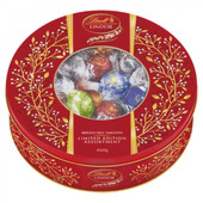 Lindt Lindor Limited Edition Assortment Round Gift Tin 500g