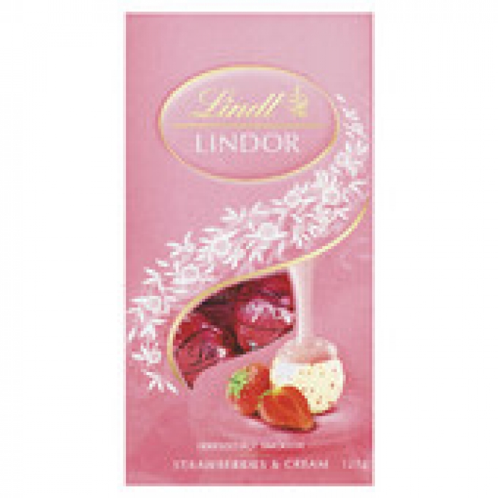 Lindt Lindor Strawberries & Cream Chocolate Bag 125g
